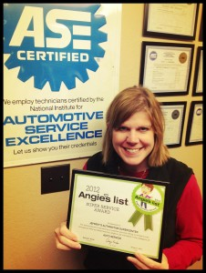 Angie's List Super Service award for Auto Service - Jeffrey's Automotive in Fort Worth