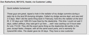 Haslet customer review of Jeffrey's Automotive Repair in Fort Worth/Watauga - Christian mechanic