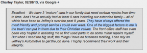Jeffrey's Autotmotive Repair in Fort Worth: Reviews from Customers