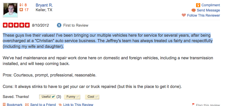 Keller - Christian Automotive - Mechanic - Review on Yelp