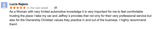 Woman reviews: Christian values at Jeffrey's Automotive: