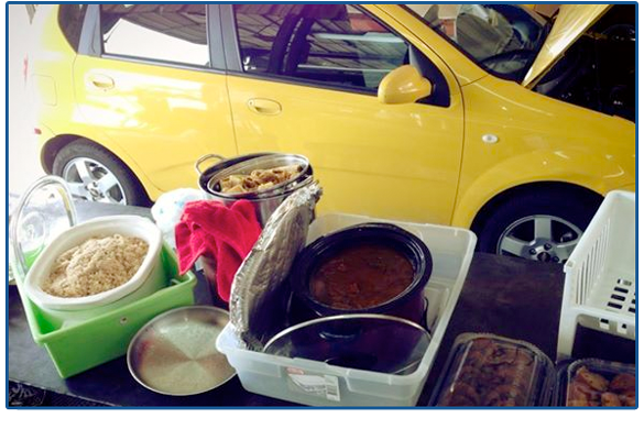 Happy customer of Jeffrey's Automotive in Fort Worth shows appreciation with tamales!