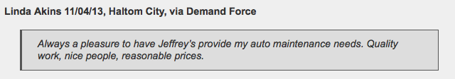 Happy Haltom City customer at Jeffrey's Automotive Repair - Mechanic Review