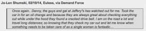 online customer review about Jeffrey's Automotive - your trusted mechanic in Fort Worth