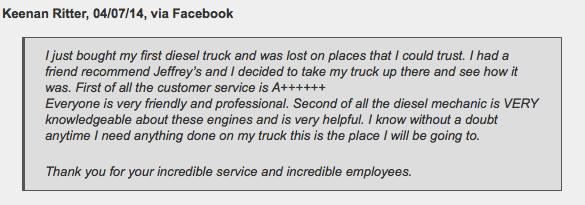 Diesel truck repair in Fort Worth - customer review