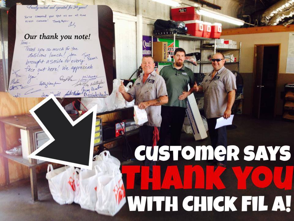 Happy Fort Worth Mechanic Customer Says Thank You with Chick-Fil-A