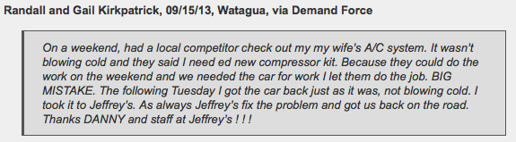 Watauga customer has Jeffrey's fix A/C