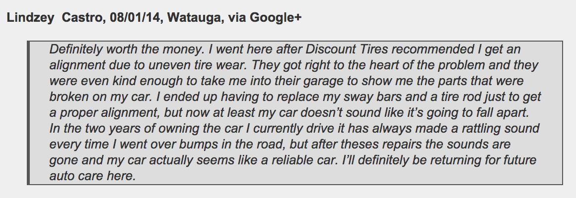 Watauga customer: Jeffrey's Automotive Repair: Mechanic