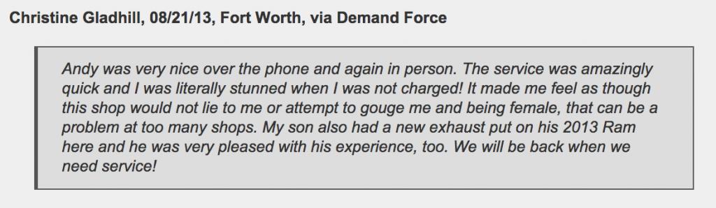 Fort Worth female customer stunned by mechanic