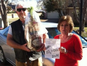 Cary & Pam Branscum - 10,000th ticket in 2014 at Jeffrey's Automotive