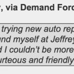 Customer review of Jeffrey's Automotive: needing a mechanic