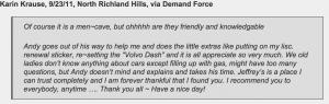 Volvo customer finds Jeffrey's Automotive