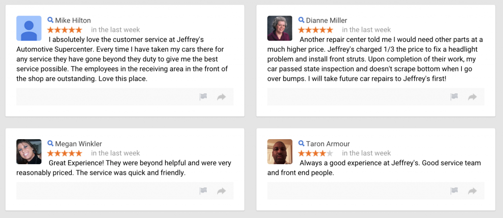 New Google Reviews about Jeffrey's Automotive suggest price and service matter most!