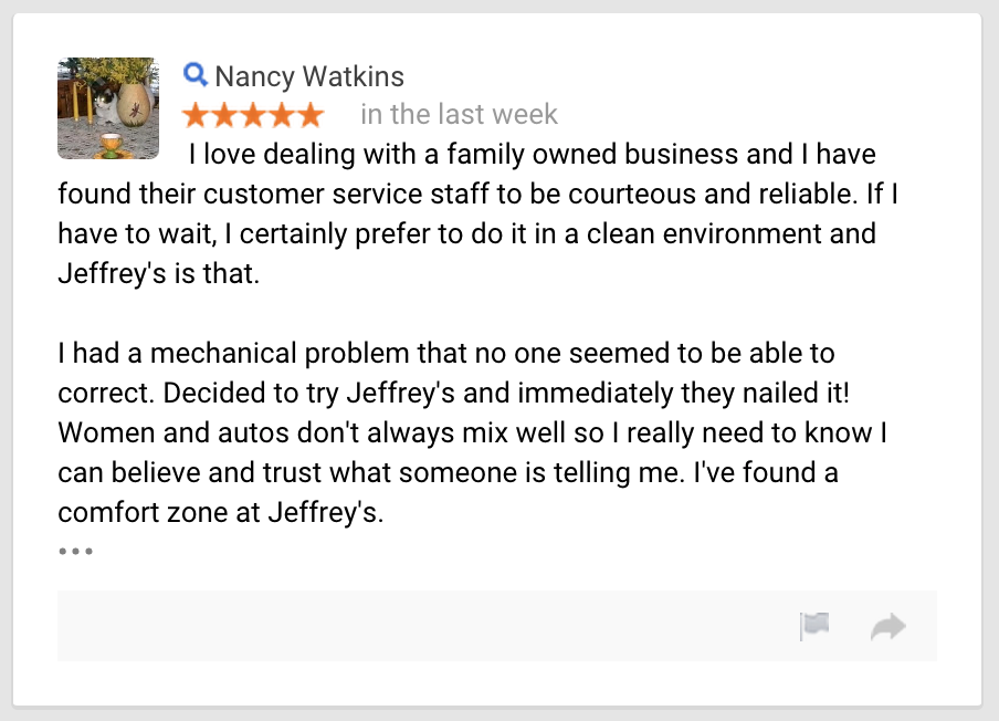 Women and autos don't always mix well . . . I've found a comfort zone at Jeffrey's Automotive ! Fort Worth Mechanic