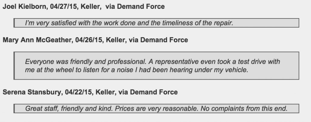 Keller customers offer glowing reviews of Jeffrey's Automotive