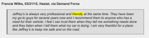 Customers say Jeffrey's Automotive Repair in friendly