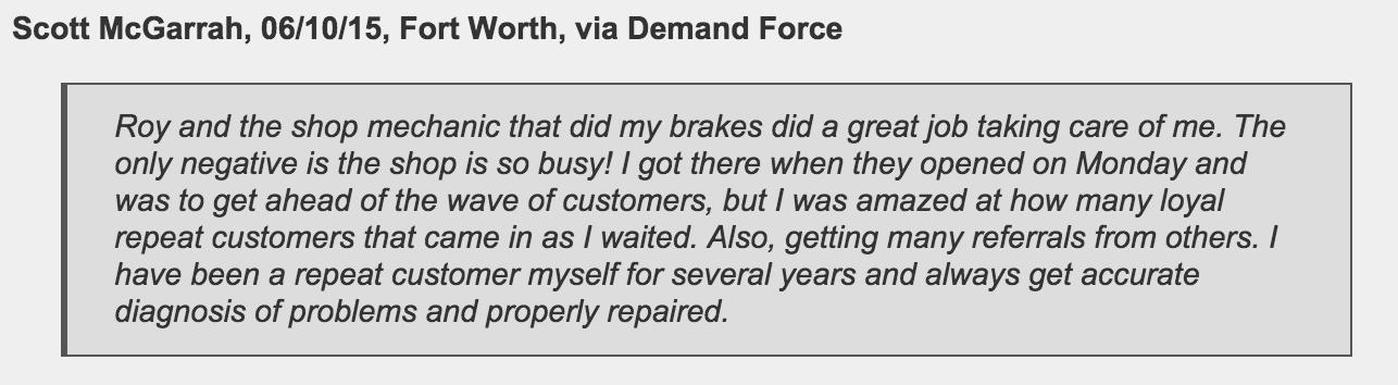 Fort Worth customer of Jeffrey's Automotive Repair