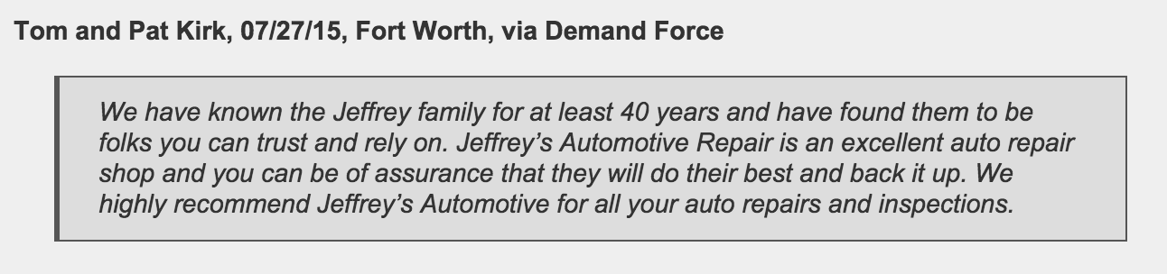 Fort Worth customer calls Jeffrey's an excellent auto repair shop