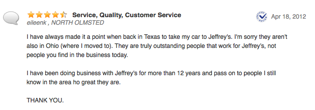 Jeffrey's Automotive - Online Review