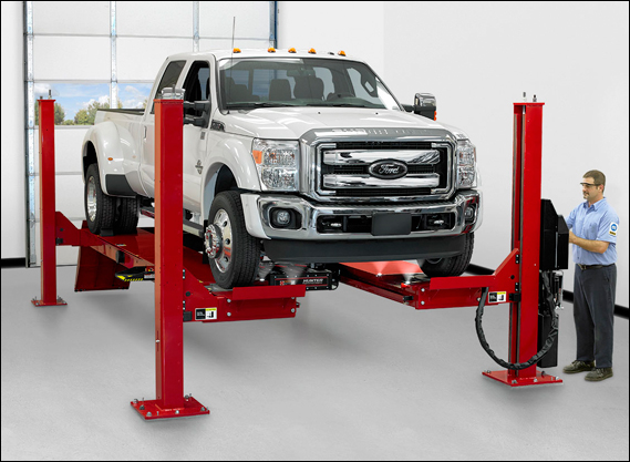 "Hunter's L451 four-post lift now features extra-wide 26"" runways. The new generation four-post lift family is available in long or standard runway length and open- or closed-front configurations. Servicing a wider range of vehicles including dual axle and large capacity vehicles is easy on the new 26"" wide runway."
