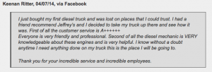 Here is what one recent customer said about one of our diesel mechanics: