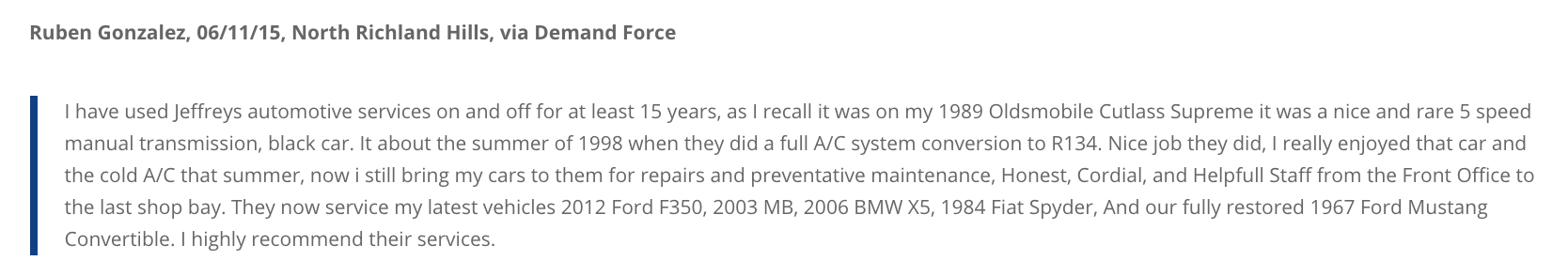 NRH customer uses Jeffrey's Automotive to fix AC