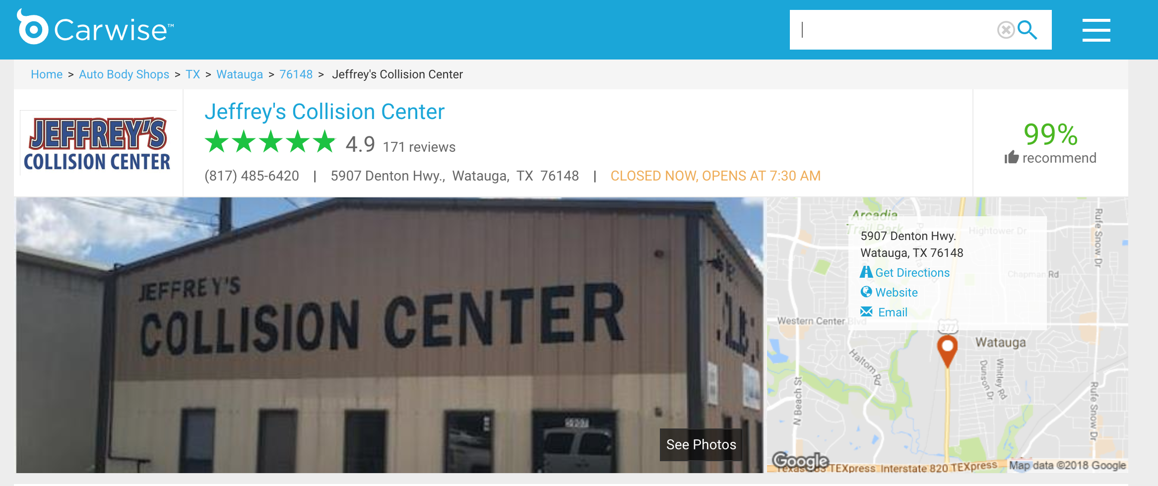 Collision Repair Reviews for Watauga's Jeffrey's Collision Center